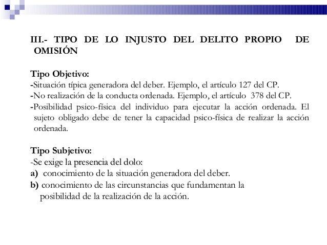 III.- TIPO DE LO INJUSTO DEL DELITO PROPIO DE OMISIÓN Tipo Objetivo: -Situación típica generadora del deber. Ejemplo, el a...