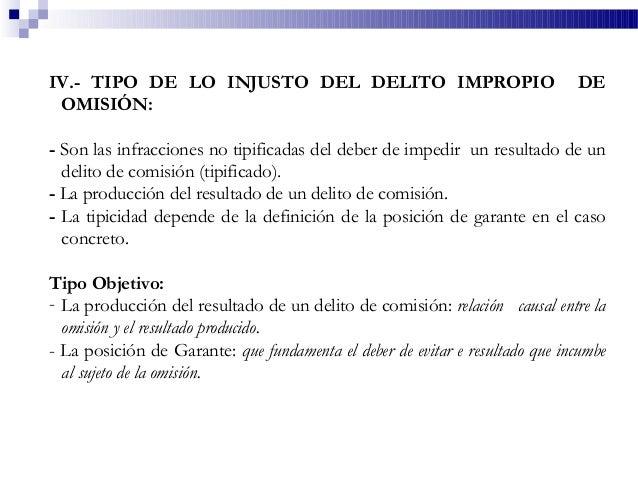 IV.- TIPO DE LO INJUSTO DEL DELITO IMPROPIO DE OMISIÓN: - Son las infracciones no tipificadas del deber de impedir un resu...
