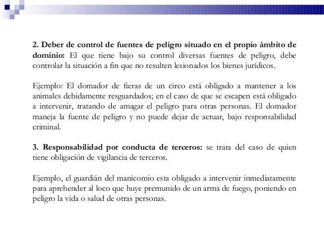 2. Deber de control de fuentes de peligro situado en el propio ámbito de dominio: El que tiene bajo su control diversas fu...