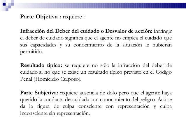 Parte Objetiva : requiere : Infracción del Deber del cuidado o Desvalor de acción: infringir el deber de cuidado significa...