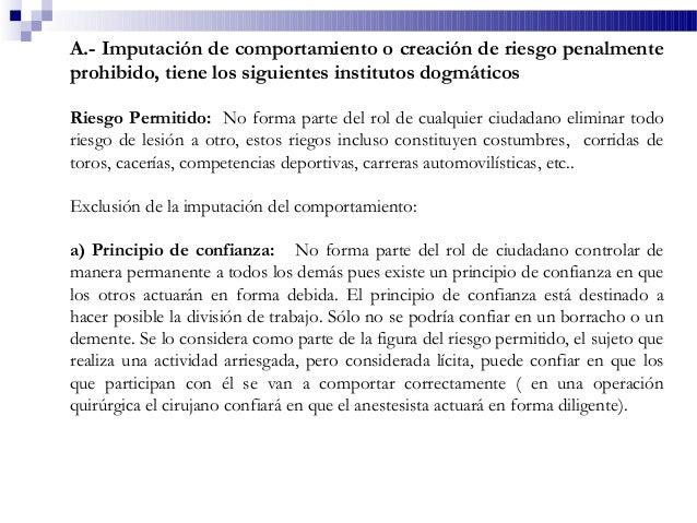 A.- Imputación de comportamiento o creación de riesgo penalmente prohibido, tiene los siguientes institutos dogmáticos Rie...