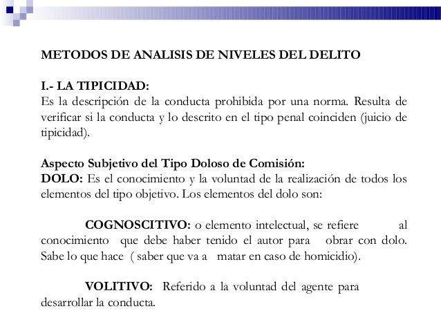 METODOS DE ANALISIS DE NIVELES DEL DELITO I.- LA TIPICIDAD: Es la descripción de la conducta prohibida por una norma. Resu...