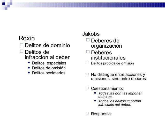 Roxin  Delitos de dominio  Delitos de infracción al deber  Delitos especiales  Delitos de omisión  Delitos societario...