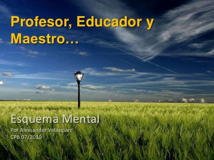 Profesor, Educador y Maestro…<br />Esquema Mental<br />Por Alexsander Velásquez<br />CPB 07/2010<br />