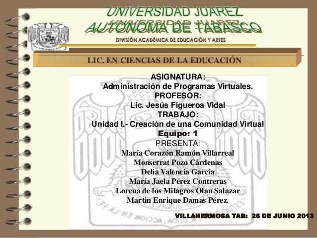 LIC. EN CIENCIAS DE LA EDUCACIÓN DIVISIÓN ACADÉMICA DE EDUCACIÓN Y ARTES ASIGNATURA: Administración de Programas Virtuales...
