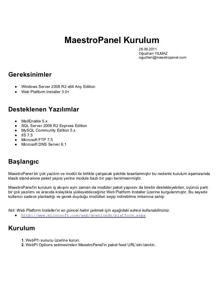 MaestroPanel Kurulum                                                                            28.09.2011                ...