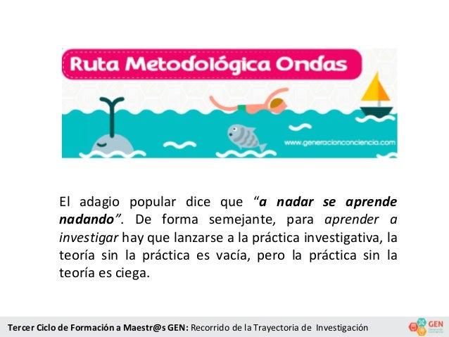 """El adagio popular dice que """"a nadar se aprende nadando"""". De forma semejante, para aprender a investigar hay que lanzarse a..."""