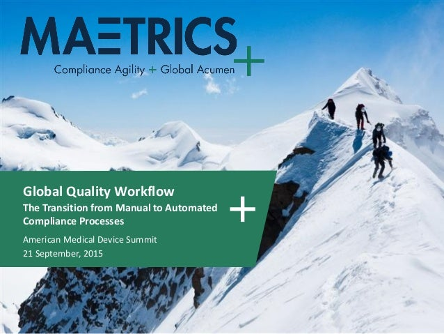 Global Quality Workflow The Transition from Manual to Automated Compliance Processes American Medical Device Summit 21 Sep...