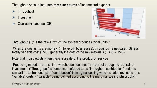 concepts of throughput accounting Financial resources necessary to turn the materials (i) into throughput (va)  in  terms of concepts, toc is the opposite of traditional cost accounting figure 1.