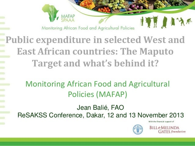 Public expenditure in selected West and East African countries: The Maputo Target and what's behind it? Monitoring African...