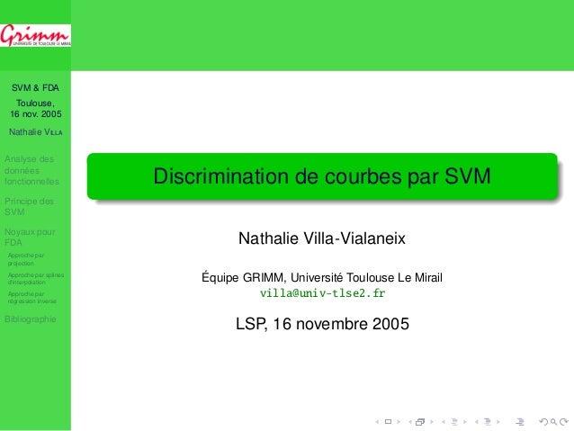 SVM & FDA  Toulouse,  16 nov. 2005  Nathalie VILLA  Analyse des  données  fonctionnelles  Principe des  SVM  Noyaux pour  ...