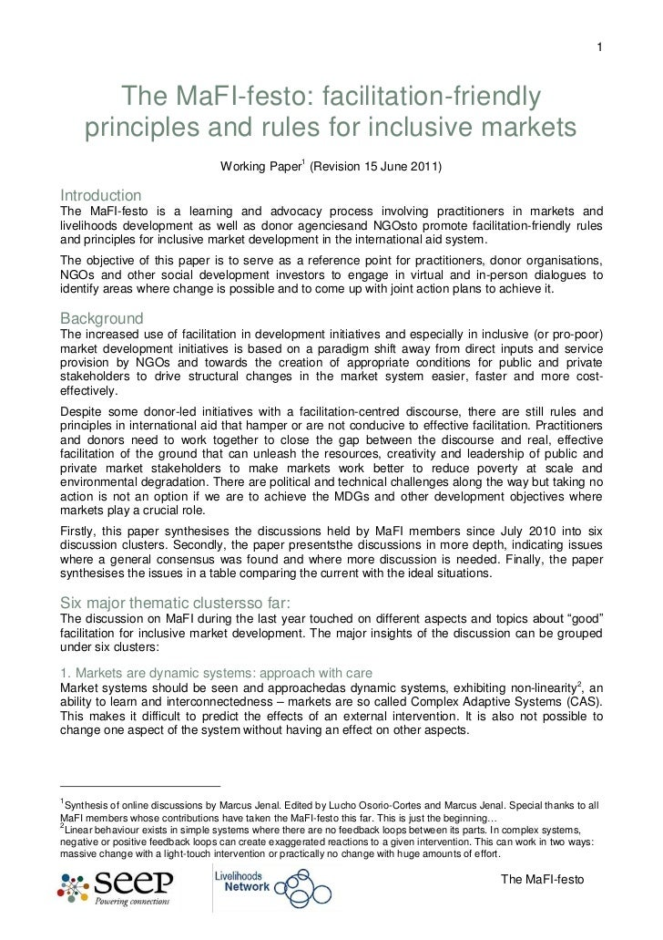 The MaFI-festo: facilitation-friendly principles and rules for inclusive markets<br />Working Paper (Revision 15 June 2011...