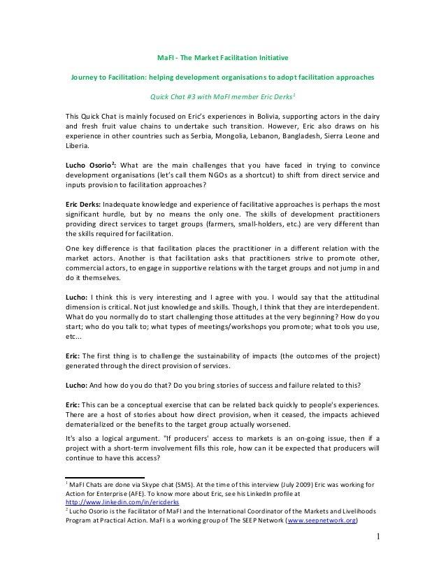 MaFI - The Market Facilitation Initiative Journey to Facilitation: helping development organisations to adopt facilitation...