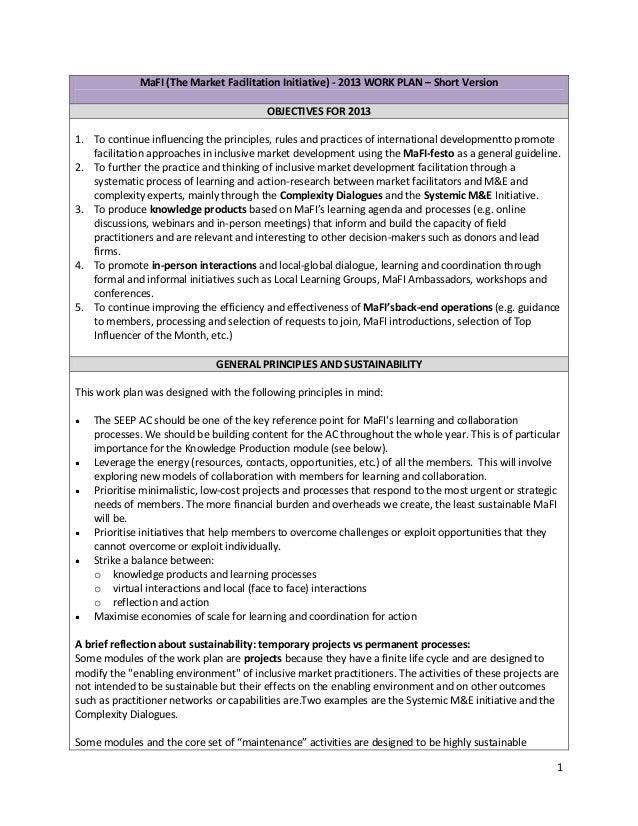 MaFI (The Market Facilitation Initiative) - 2013 WORK PLAN – Short Version                                         OBJECTI...