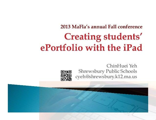ChinHuei Yeh Shrewsbury Public Schools cyeh@shrewsbury.k12.ma.us