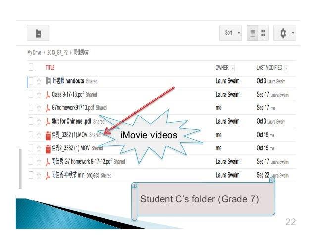 iMovie videos  Student C's folder (Grade 7) 22