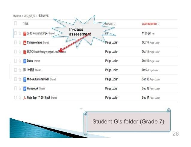 In-class assessment  Student G's folder (Grade 7) 26