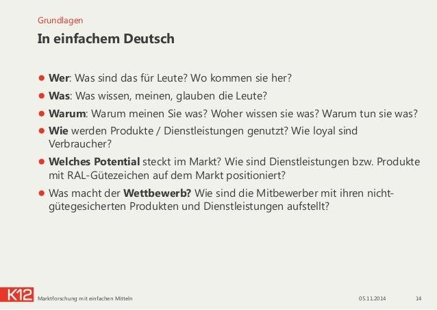 In einfachem Deutsch ●Wer: Was sind das für Leute? Wo kommen sie her? ●Was: Was wissen, meinen, glauben die Leute? ●War...