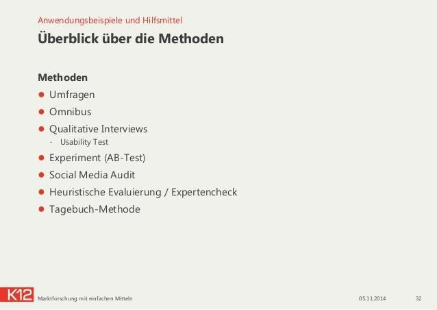 Überblick über die Methoden Methoden ● Umfragen ● Omnibus ● Qualitative Interviews - Usability Test ● Experiment (AB-...