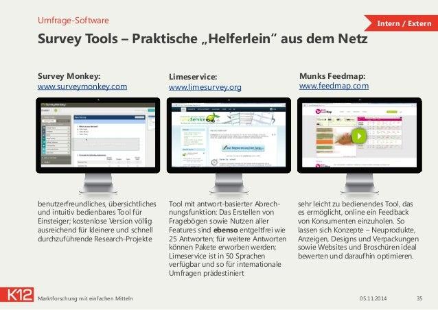 """Survey Tools – Praktische """"Helferlein"""" aus dem Netz 05.11.2014Marktforschung mit einfachen Mitteln 35 Umfrage-Software Sur..."""