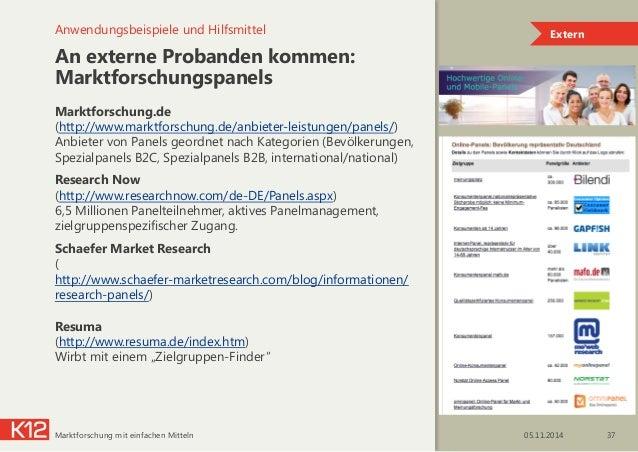 An externe Probanden kommen: Marktforschungspanels Marktforschung.de  (http://www.marktforschung.de/anbieter-leistungen/p...