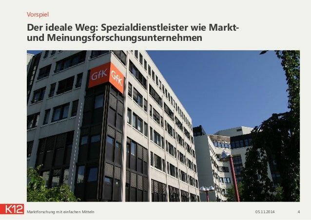Der ideale Weg: Spezialdienstleister wie Markt-  und Meinungsforschungsunternehmen Vorspiel 05.11.2014 4Marktforschung mi...
