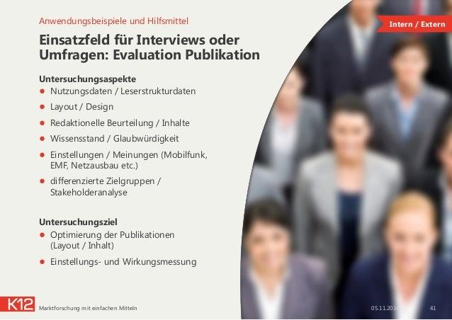 Einsatzfeld für Interviews oder Umfragen: Evaluation Publikation Untersuchungsaspekte ● Nutzungsdaten / Leserstrukturdate...