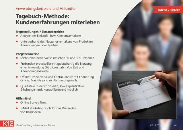 Tagebuch-Methode: Kundenerfahrungen miterleben Fragestellungen / Einsatzbereiche ● Analyse des Einkaufs- bzw. Konsumverha...