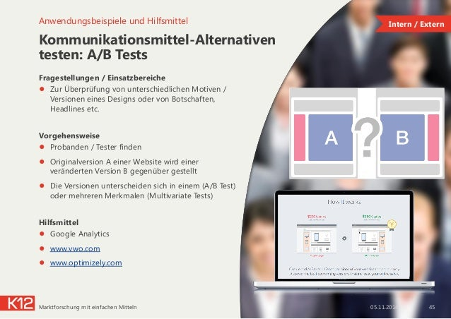 Kommunikationsmittel-Alternativen testen: A/B Tests Fragestellungen / Einsatzbereiche ● Zur Überprüfung von unterschiedli...