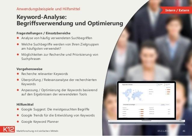 Keyword-Analyse: Begriffsverwendung und Optimierung Fragestellungen / Einsatzbereiche ● Analyse von häufig verwendeten S...