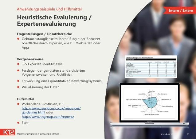 Heuristische Evaluierung / Expertenevaluierung Fragestellungen / Einsatzbereiche ● Gebrauchstauglichkeitsüberprüfung eine...