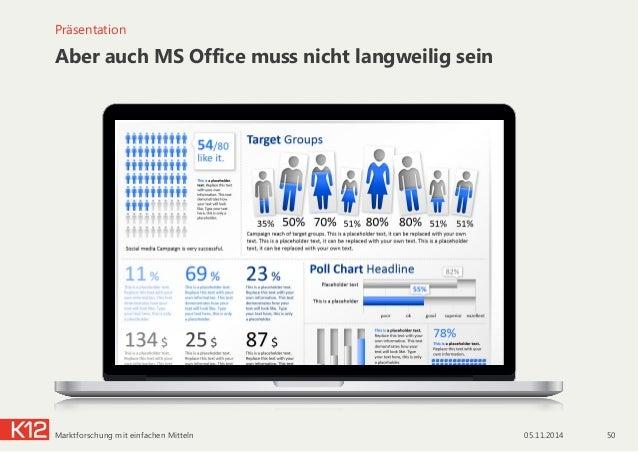 Aber auch MS Office muss nicht langweilig sein Präsentation 05.11.2014 50Marktforschung mit einfachen Mitteln