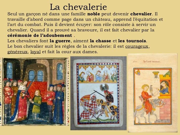 La chevalerieSeul un garçon né dans une famille noble peut devenir chevalier. Iltravaille d'abord comme page dans un châte...