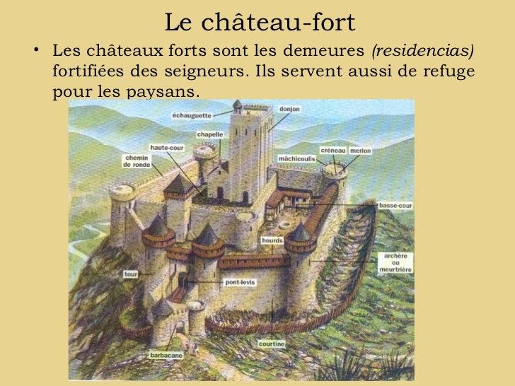 Le château-fort• Les châteaux forts sont les demeures (residencias)  fortifiées des seigneurs. Ils servent aussi de refuge...