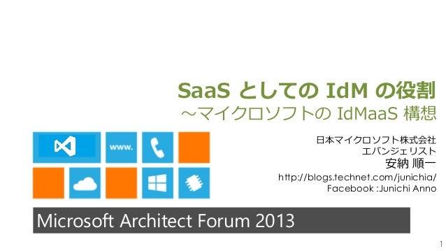1Microsoft Architect Forum 2013SaaS としての IdM の役割~マイクロソフトの IdMaaS 構想日本マイクロソフト株式会社エバンジェリスト安納 順一http://blogs.technet.com/juni...