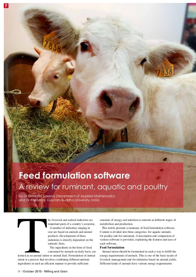 Feed formulation software - A review for ruminant, aquatic