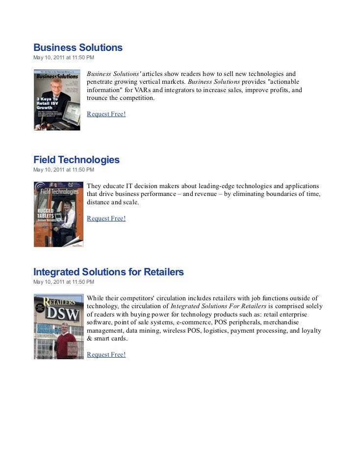 Business SolutionsMay 10, 2011 at 11:50 PM                     Business Solutions articles show readers how to sell new te...