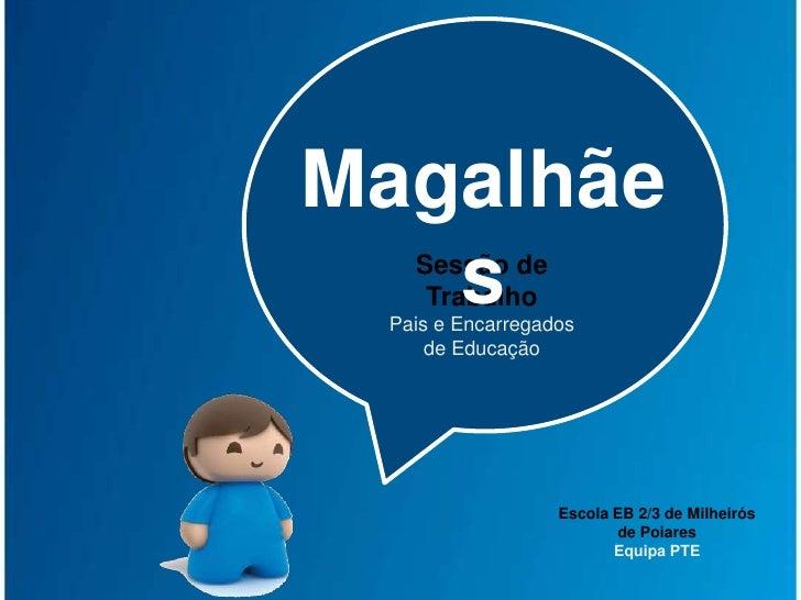Magalhães<br />Sessão de Trabalho<br />Pais e Encarregados de Educação<br />Escola EB 2/3 de Milheirós de Poiares<br />Equ...