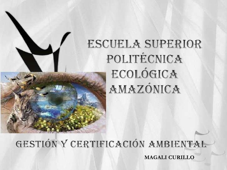 ESCUELA SUPERIOR POLITÉCNICA ECOLÓGICA AMAZÓNICA<br />GESTIÓN Y CERTIFICACIÓN AMBIENTAL<br />MAGALI CURILLO<br />