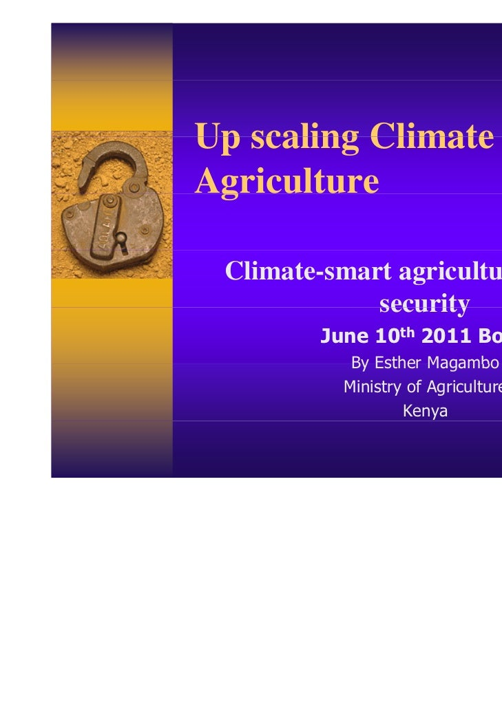 Up scaling Climate SmartAgriculture g Climate-smart agriculture for food             security         June 10th 2011 Bonn ...