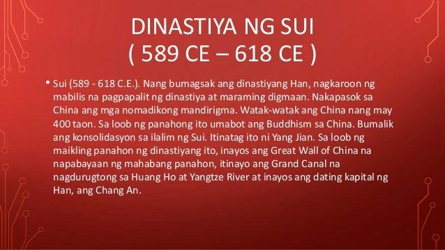 dinistiyang sui Labis na nagdusa ang mga magsasaka dahil ginamit silang mga manggagawa sa mga proyekto ng sui kung kaya kalaunan, nagkaroon.