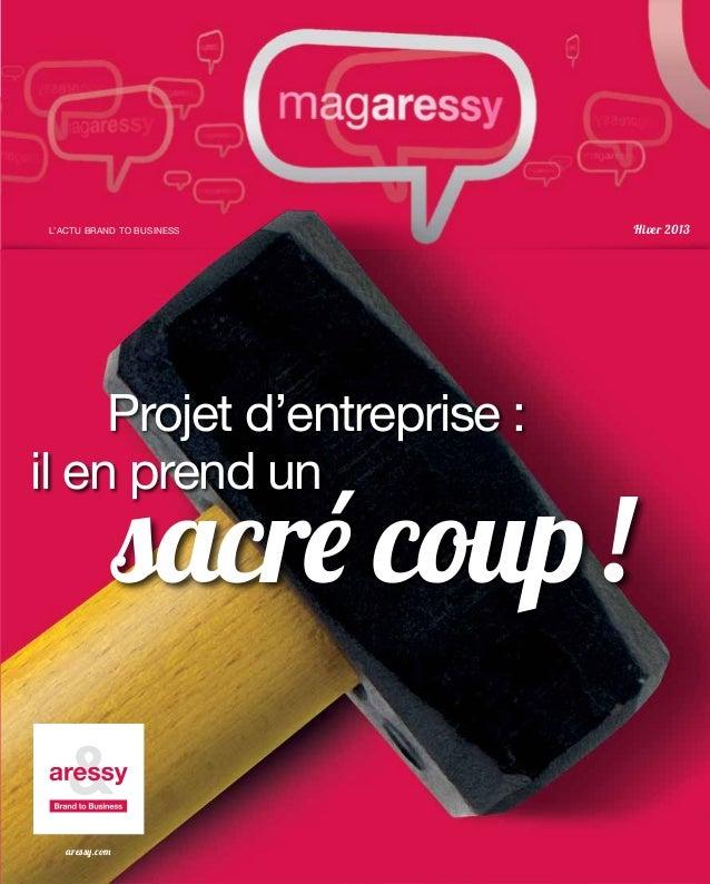 L'ACTU BRAND TO BUSINESS     Hiver 2013     Projet d'entreprise :il en prend un                sacré coup !   aressy.com