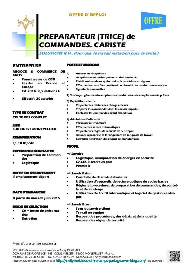 offre d u0026 39 emploi   preparateur  trice  de commandes