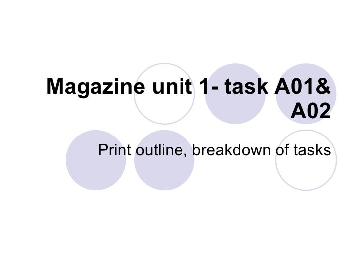 Magazine unit 1- task A01& A02 Print outline, breakdown of tasks