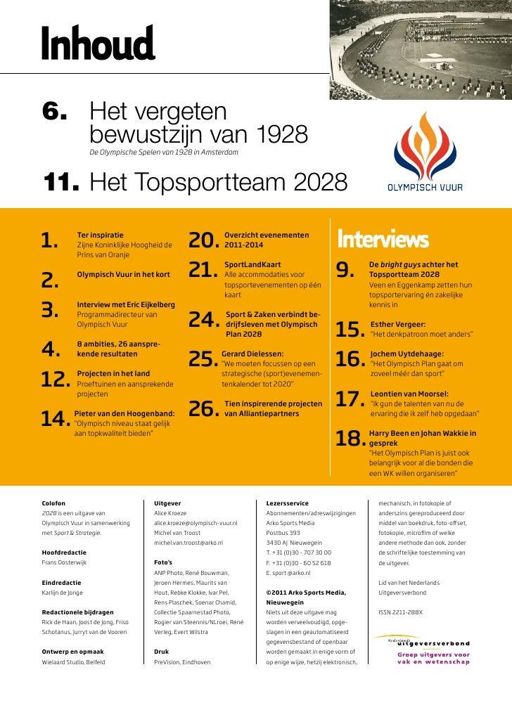 6. Het vergeten   bewustzijn van 1928                   De Olympische Spelen van 1928 in Amsterdam11. Het Topsportteam 202...