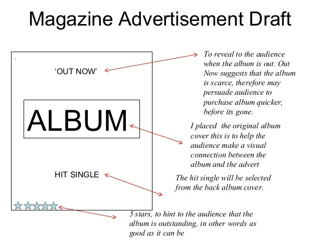 Magazine Advertisement Draft.                                           To reveal to the audience                         ...