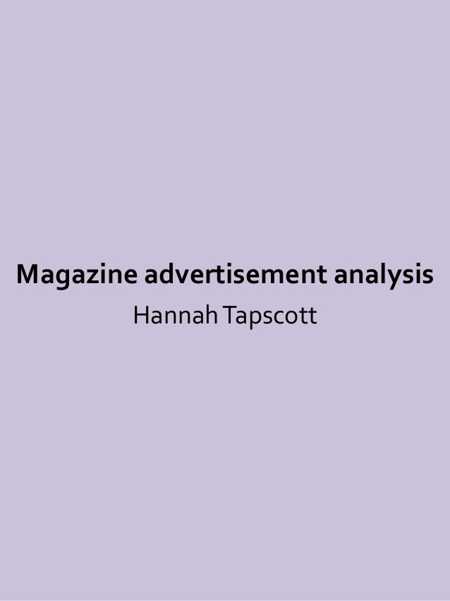 Magazine advertisement analysis Hannah Tapscott