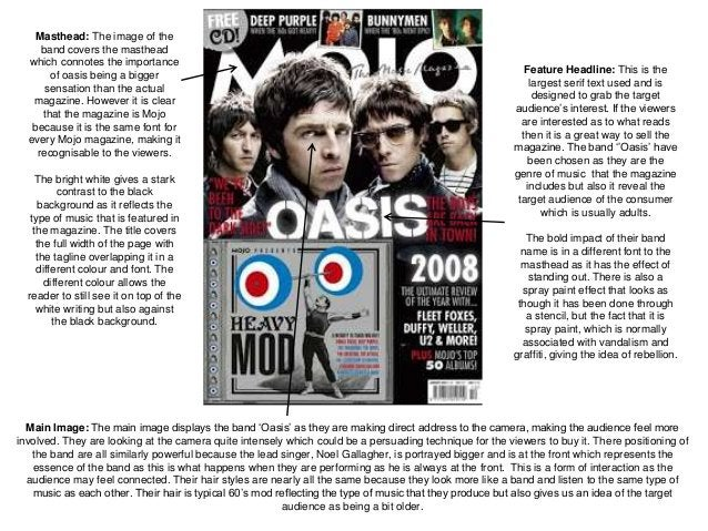 Main Image: The main image displays the band 'Oasis' as they are making direct address to the camera, making the audience ...
