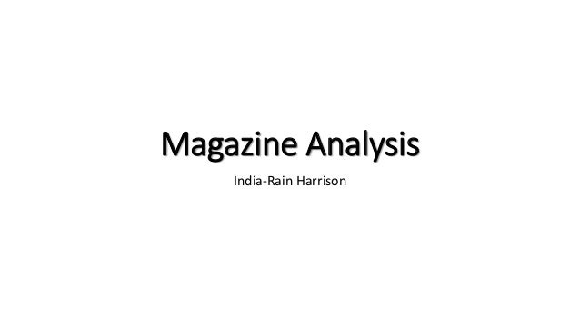 Magazine Analysis India-Rain Harrison