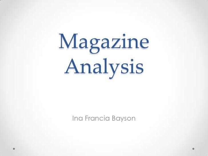 MagazineAnalysis Ina Francia Bayson